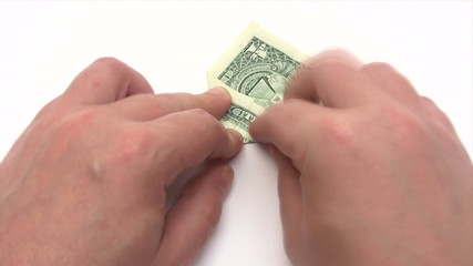 Folding a Dollar Plane - Time Lapse