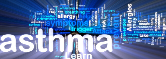 Asthma wordcloud glowing