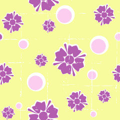 Bright seamless retro floral background