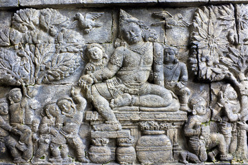 Bas-Relief at Mendut Temple, Indonesia