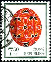 Ceska Republica. oeuf de Paques décoré. Timbre postal
