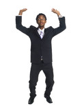 businessman - arms overhead holding poster