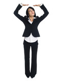 businesswoman - arms overhead holding poster