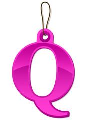 Alphabet letter Q tag