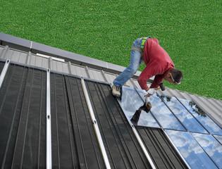 solaire et herbe