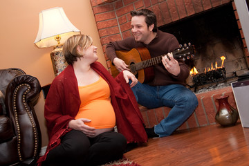 Playing music for the baby