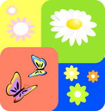 Seamless tile with spring subject poster