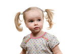 Baby with ponytails poster