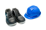 Safety Shoes and blue helmet poster