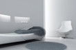 modern sofa and armchair in the light tones interior