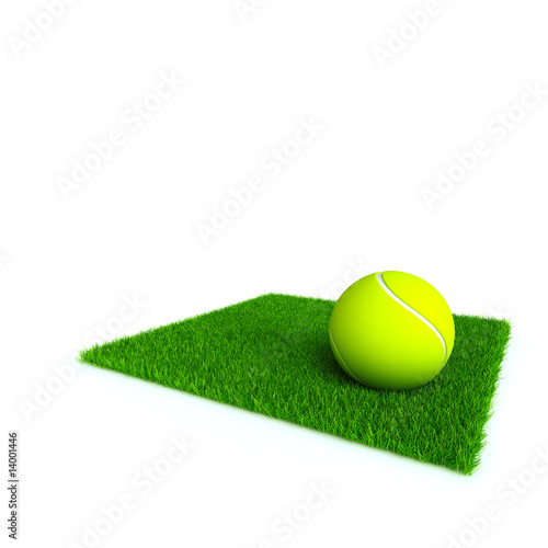 tennis ball on a lawn from a green bright grass