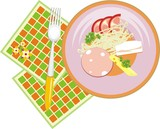 Dish with vegetables, spaghetti, bacon, sausage and cheese poster