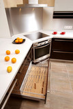 Modern kitchen with the built in home appliances poster