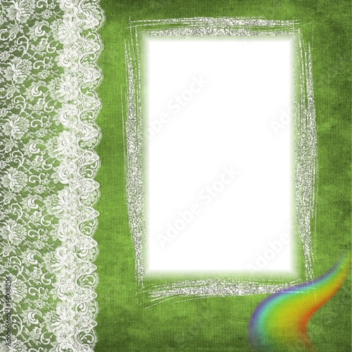 cadre brillant et dentelle sur fond vert photo libre de droits sur la banque d 39 images fotolia. Black Bedroom Furniture Sets. Home Design Ideas