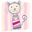 roleta: Pink kitten. Stripped small baby kitten. Vector Illustration.