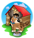 Cute dog in front of kennel poster