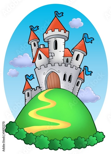Aluminium Kasteel Fairy tale castle with clouds
