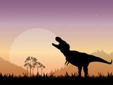 Prehistoric Tyrannosaurus Dinosaur Scene poster