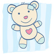 roleta: Blue Teddy bear with heart. Children's Toy. Vector Illustration.