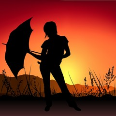 Girl and Umbrella - Sunset - silhouette as romantic illustration