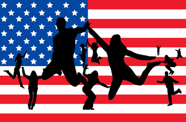 Flag of USA and people jumping