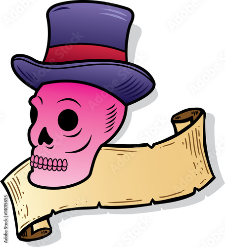 Skull wearing a top hat tattoo