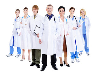 happy team of successful doctors
