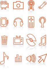 Multimedia Orange Icon Set
