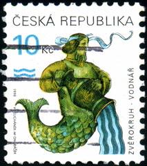Ceska Republika. Zodiaque. Verseau. Timbre postal. 1998