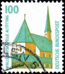 Deutsche Bundespost. Eglise. Timbre postal.