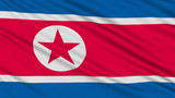 North Korean flag, with real structure of a fabric