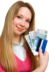 smiling girl with money and credit card