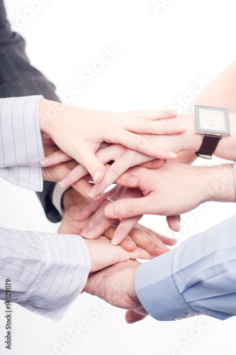 Hands of a successful business team on a white background