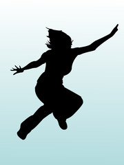 silhouette girl jumping
