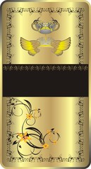 Wings, crown and decorative ornament. Background for wrapping