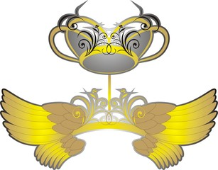 Wings and crown. Vector