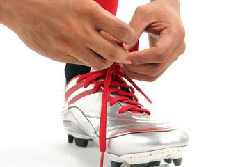 wearing football sport shoe