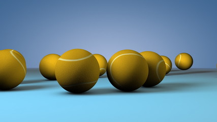 3d Tennis balls falling on to the ground and bouce each other