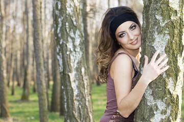beautiful girl in a birchwood