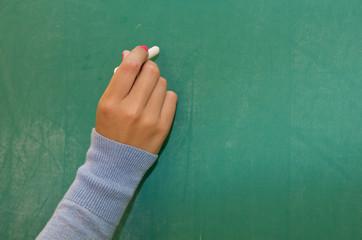 Hand writing on blackboard