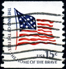 The land of the free The home of the brave. Timbre Postal US