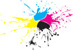 CMYK paint splat whith drops