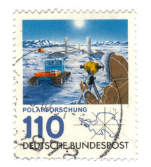 Old canceled german stamp with Polar Exploration