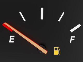 A closeup of a car fuel gauge showing empty