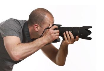 paparazzi photographer isolated on white