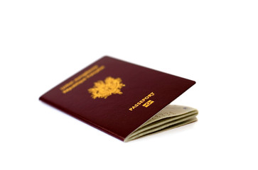 Closeup of French passport isolated on white