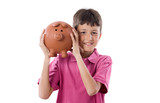 Child with moneybox savings poster