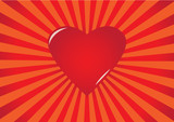 Red heart on striped background
