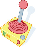Retro style toy joystick illustration poster