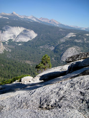 Magnificent views from the top of Half Dome in Yosemite